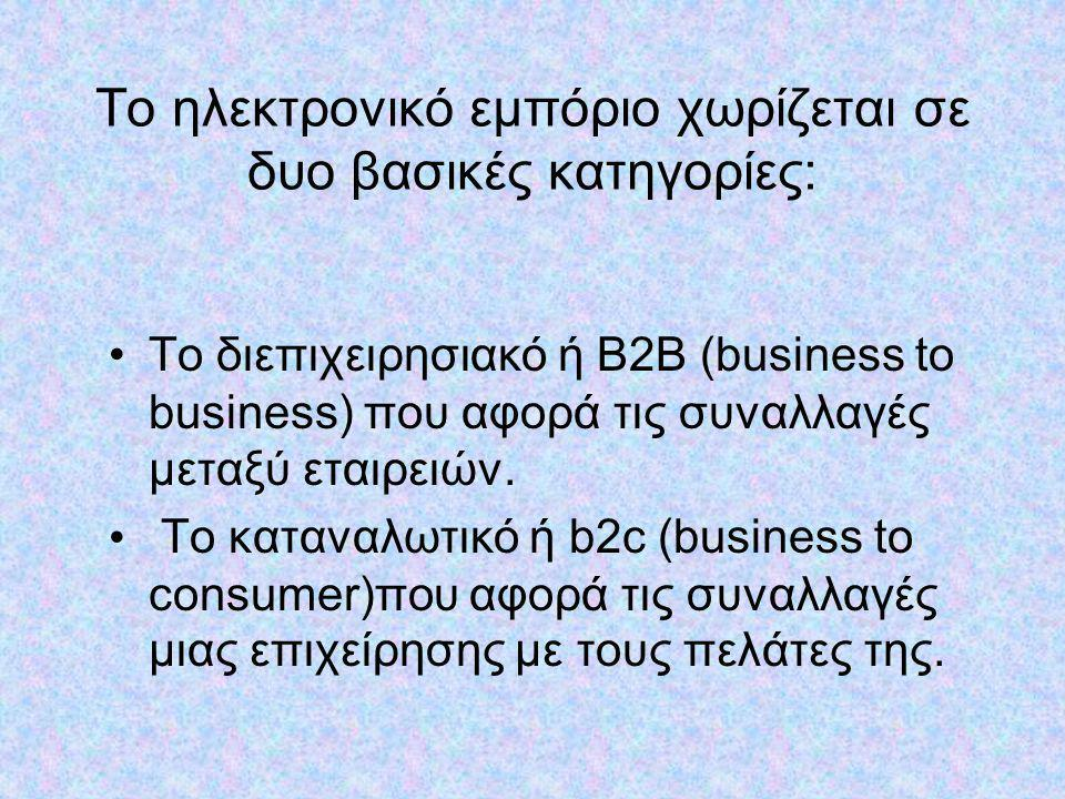 Το ηλεκτρονικό εμπόριο χωρίζεται σε δυο βασικές κατηγορίες: