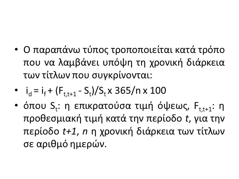 Ο παραπάνω τύπος τροποποιείται κατά τρόπο που να λαμβάνει υπόψη τη χρονική διάρκεια των τίτλων που συγκρίνονται: