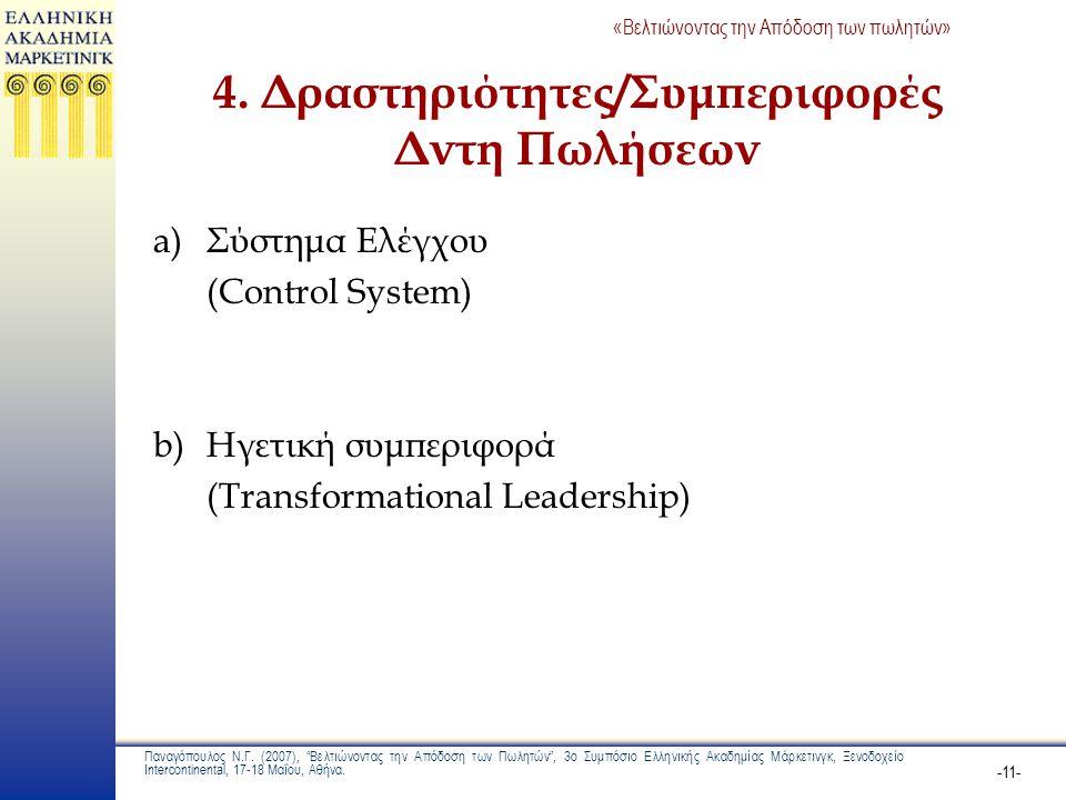 4. Δραστηριότητες/Συμπεριφορές Δντη Πωλήσεων