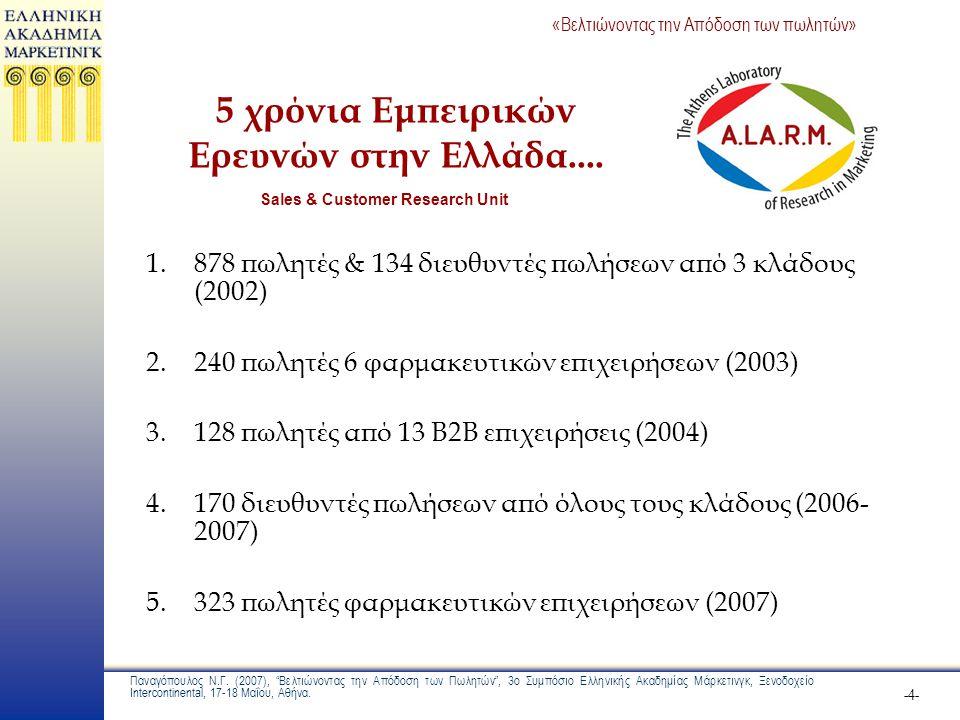 5 χρόνια Εμπειρικών Ερευνών στην Ελλάδα....