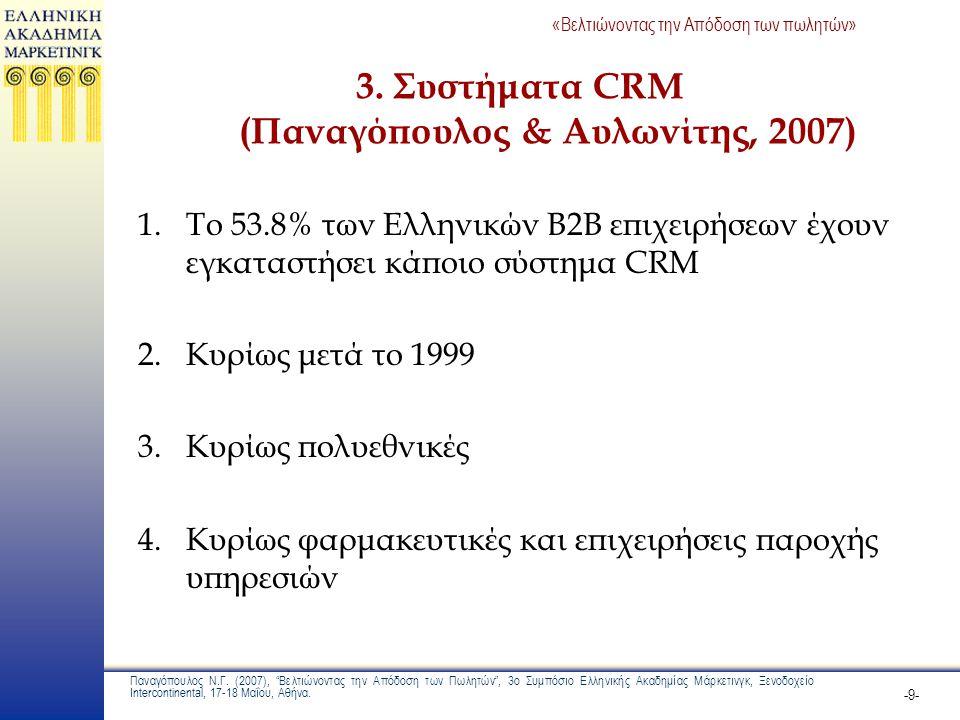 3. Συστήματα CRM (Παναγόπουλος & Αυλωνίτης, 2007)