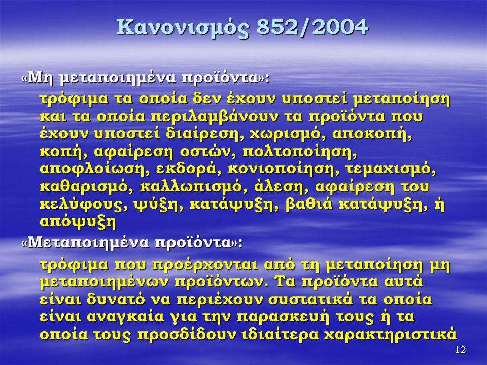 Κανονισμός 852/2004 «Μη μεταποιημένα προϊόντα»: