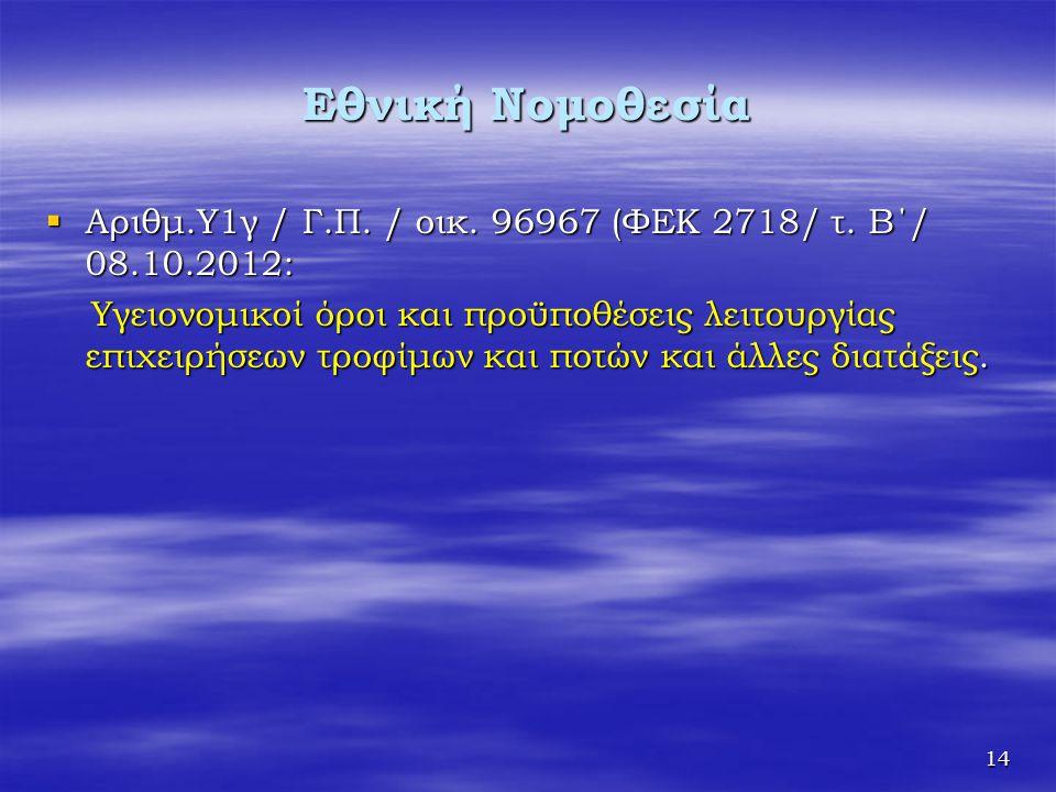 Εθνική Νομοθεσία Αριθμ.Υ1γ / Γ.Π. / οικ. 96967 (ΦΕΚ 2718/ τ. Β΄/ 08.10.2012: