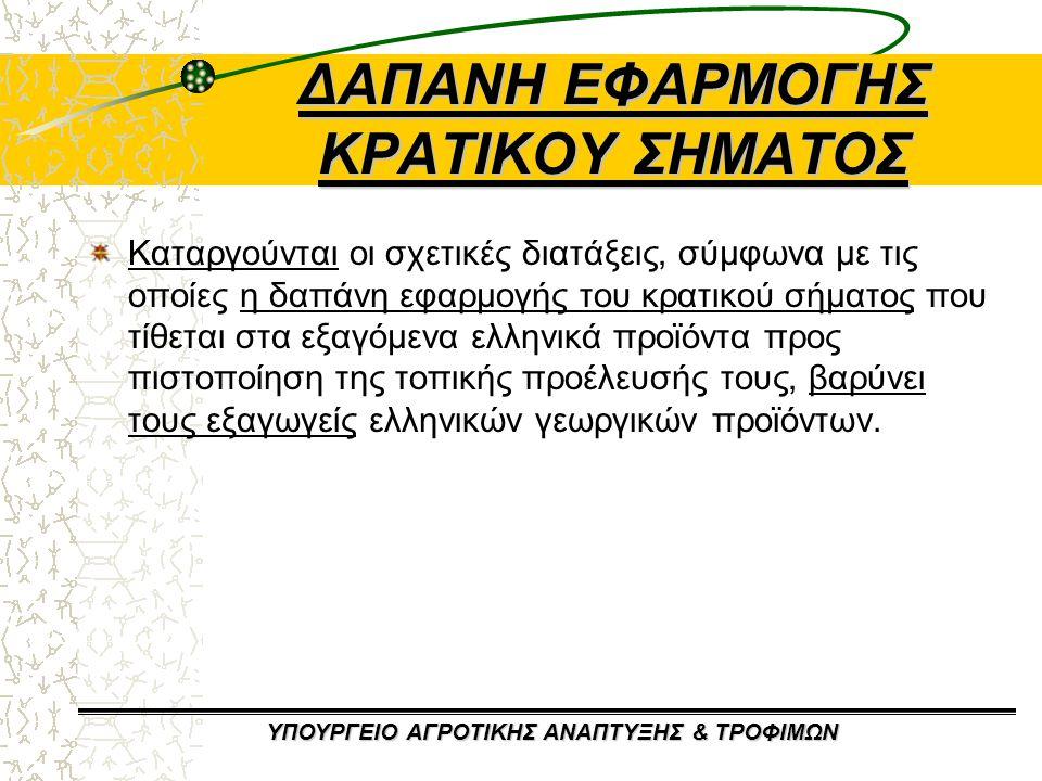 ΔΑΠΑΝΗ ΕΦΑΡΜΟΓΗΣ ΚΡΑΤΙΚΟΥ ΣΗΜΑΤΟΣ