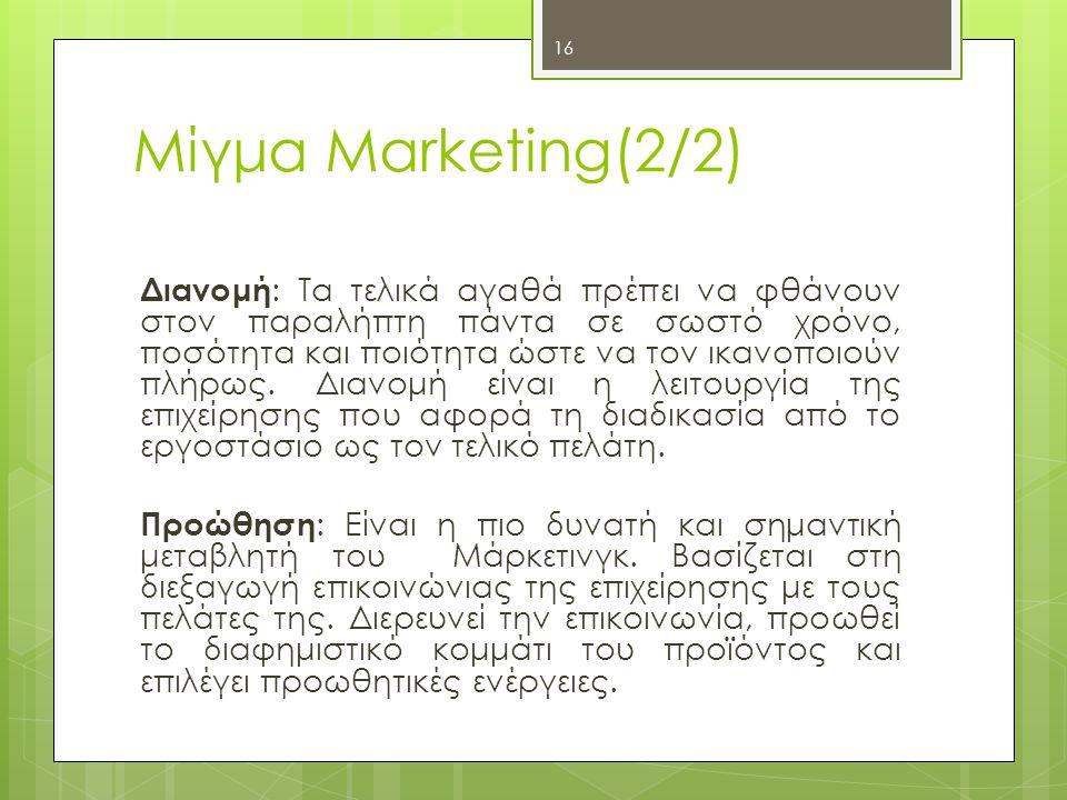 Μίγμα Marketing(2/2)