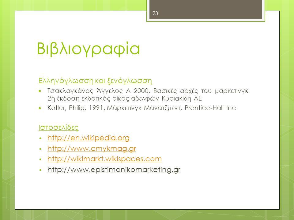 Βιβλιογραφία Ελληνόγλωσση και ξενόγλωσση Ιστοσελίδες