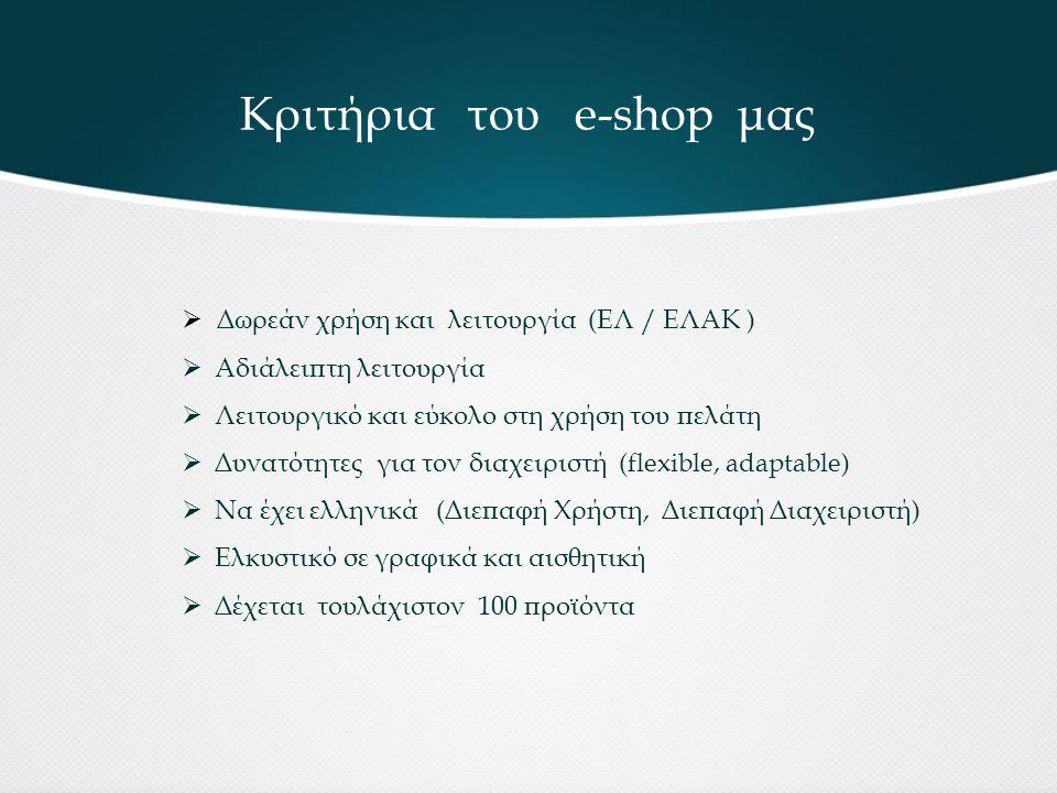 Κριτήρια του e-shop μας