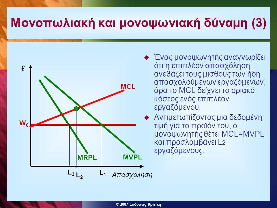 Μονοπωλιακή και μονοψωνιακή δύναμη (3)