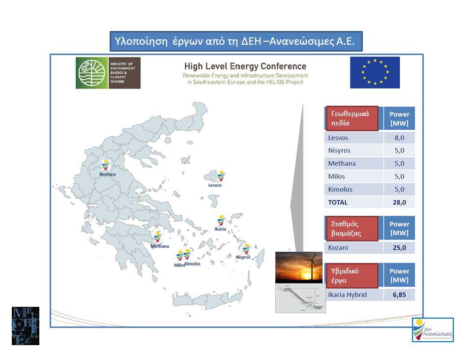 Υλοποίηση έργων από τη ΔΕΗ –Ανανεώσιμες Α.Ε.