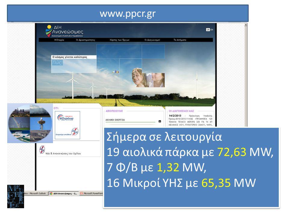 Σήμερα σε λειτουργία 19 αιολικά πάρκα με 72,63 MW, 7 Φ/Β με 1,32 MW,