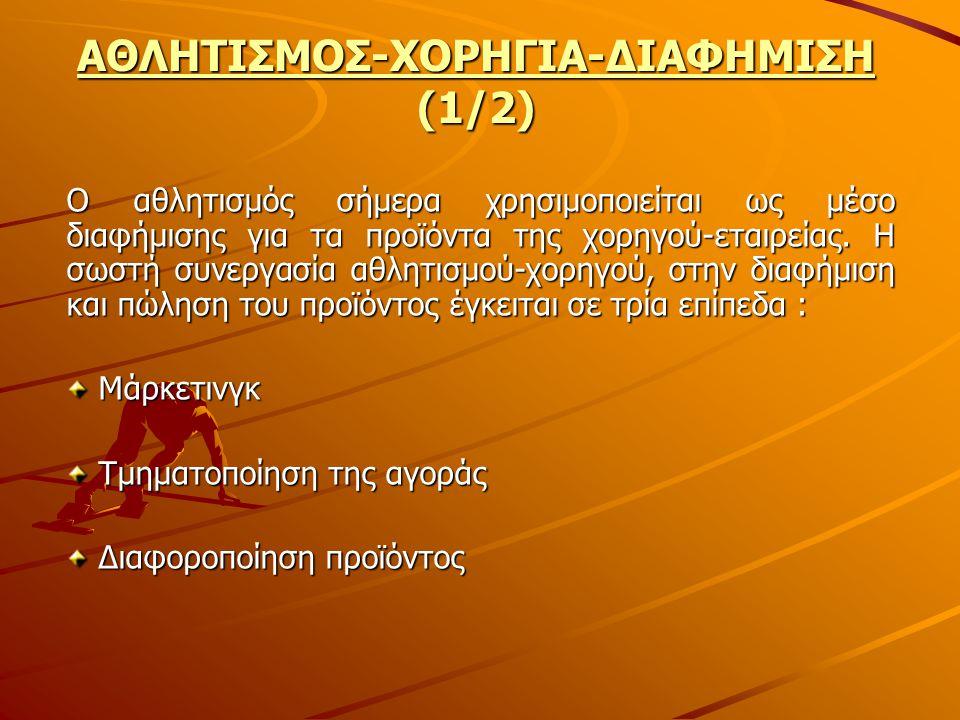 ΑΘΛΗΤΙΣΜΟΣ-ΧΟΡΗΓΙΑ-ΔΙΑΦΗΜΙΣΗ (1/2)