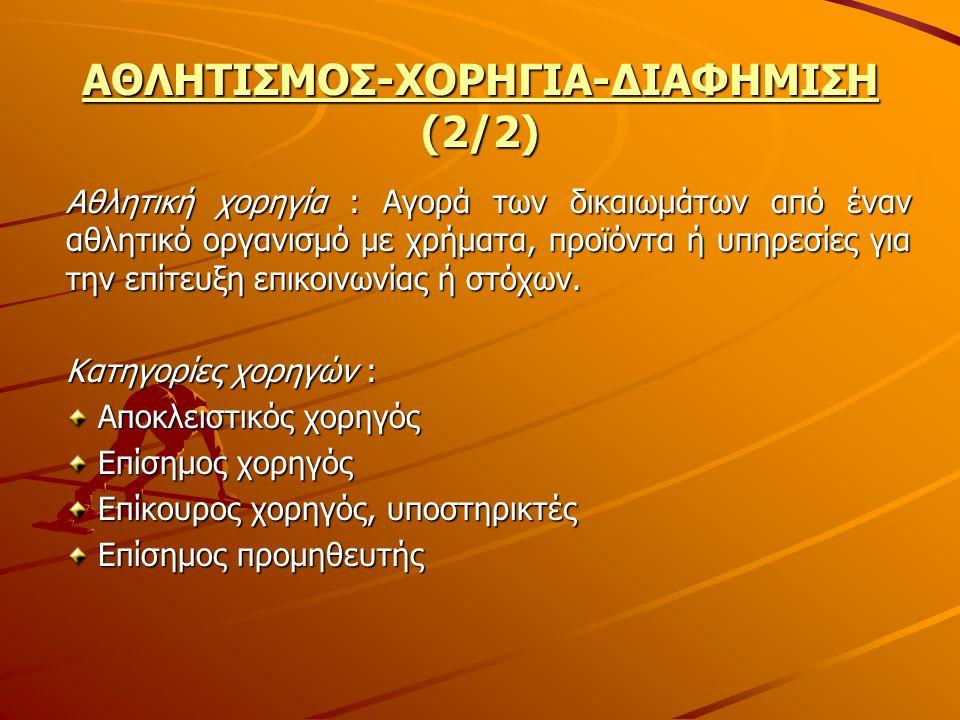 ΑΘΛΗΤΙΣΜΟΣ-ΧΟΡΗΓΙΑ-ΔΙΑΦΗΜΙΣΗ (2/2)