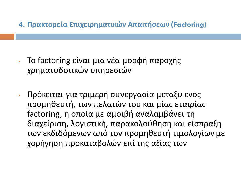 4. Πρακτορεία Επιχειρηματικών Απαιτήσεων (Factoring)