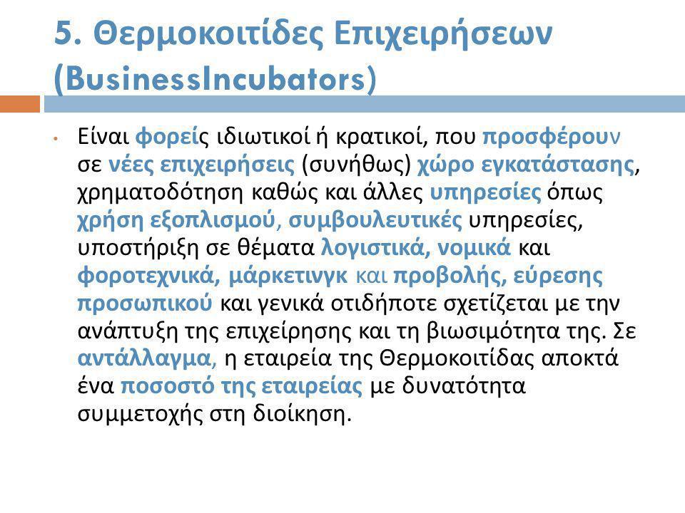 5. Θερμοκοιτίδες Επιχειρήσεων (BusinessIncubators)
