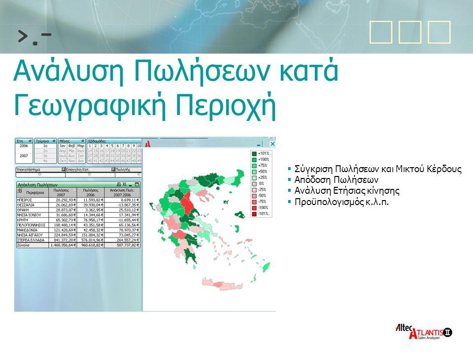 Ανάλυση Πωλήσεων κατά Γεωγραφική Περιοχή