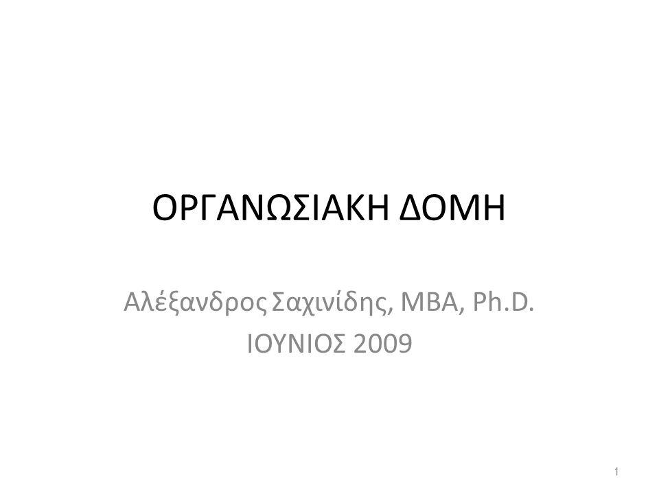 Αλέξανδρος Σαχινίδης, ΜΒΑ, Ph.D. ΙΟΥΝΙΟΣ 2009