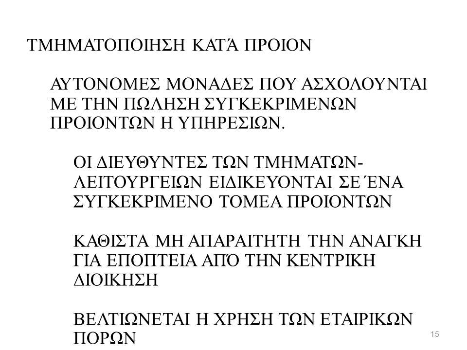 ΤΜΗΜΑΤΟΠΟΙΗΣΗ ΚΑΤΆ ΠΡΟΙΟΝ