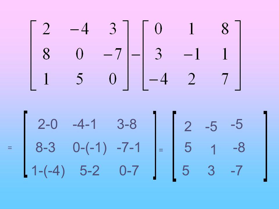 2-0 -4-1 3-8 -5 2 -5 8-3 0-(-1) -7-1 5 -8 1 = = 1-(-4) 5-2 0-7 5 3 -7
