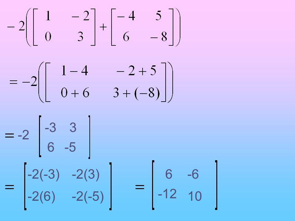 -3 3 -2 6 -5 -2(-3) -2(3) 6 -6 -12 -2(6) -2(-5) 10