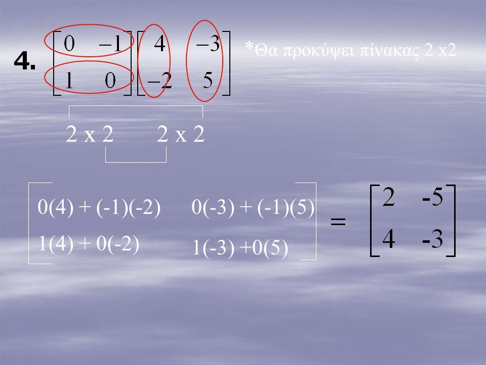 2 x 2 2 x 2 *Θα προκύψει πίνακας 2 x2 0(4) + (-1)(-2) 0(-3) + (-1)(5)