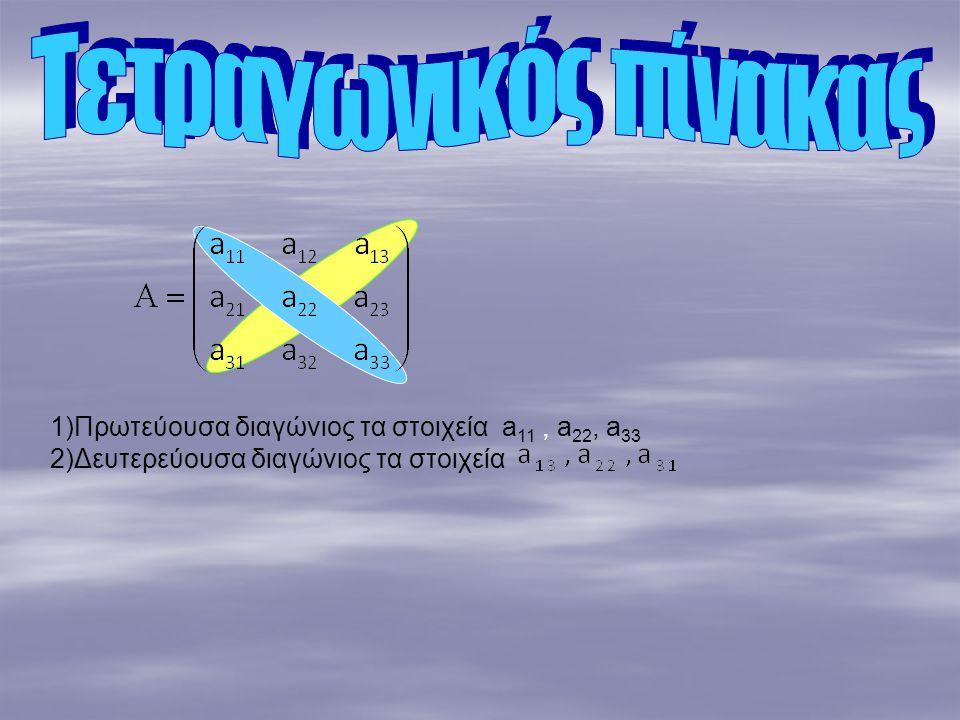 Τετραγωνικός πίνακας 1)Πρωτεύουσα διαγώνιος τα στοιχεία a11 , a22, a33