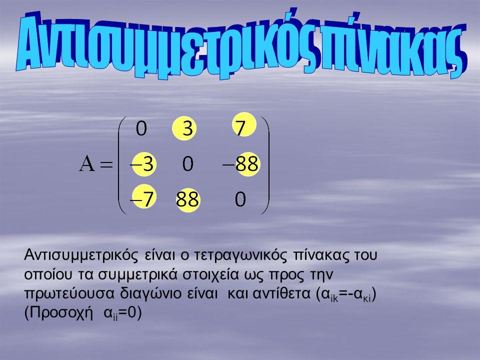 Αντισυμμετρικός πίνακας