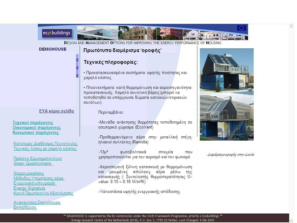Πρωτότυπο διαμέρισμα 'οροφής' Τεχνικές πληροφορίες: