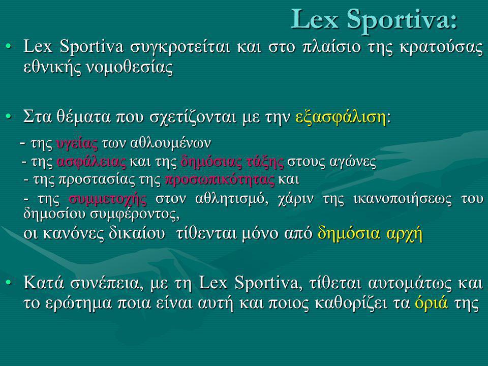Lex Sportiva: Lex Sportiva συγκροτείται και στο πλαίσιο της κρατούσας εθνικής νομοθεσίας. Στα θέματα που σχετίζονται με την εξασφάλιση: