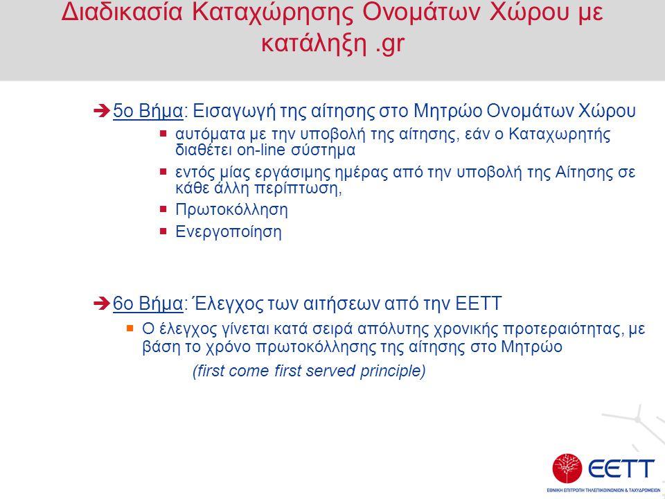 Διαδικασία Καταχώρησης Ονομάτων Χώρου με κατάληξη .gr