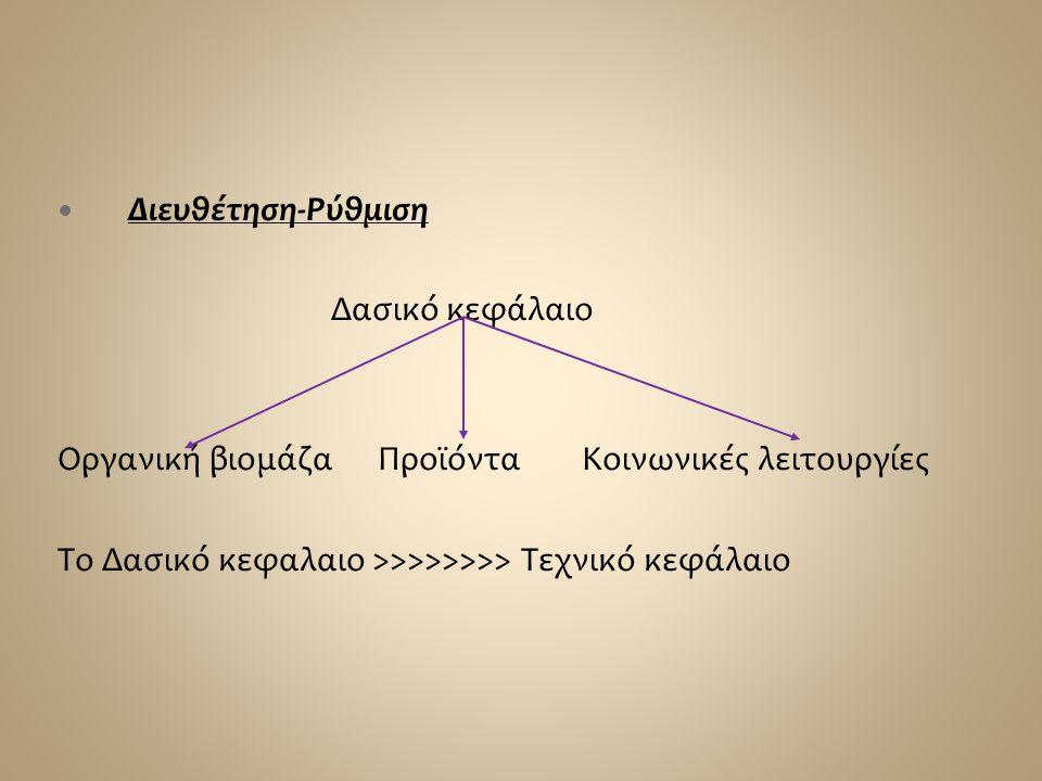 Διευθέτηση-Ρύθμιση Δασικό κεφάλαιο. Οργανική βιομάζα Προϊόντα Κοινωνικές λειτουργίες.
