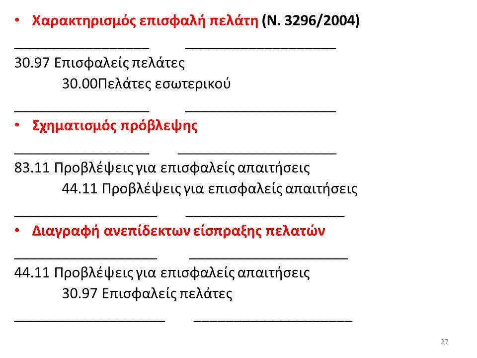 Χαρακτηρισμός επισφαλή πελάτη (Ν. 3296/2004)