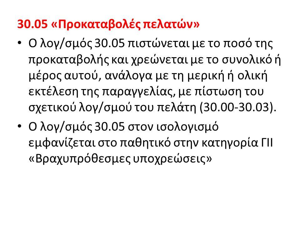 30.05 «Προκαταβολές πελατών»