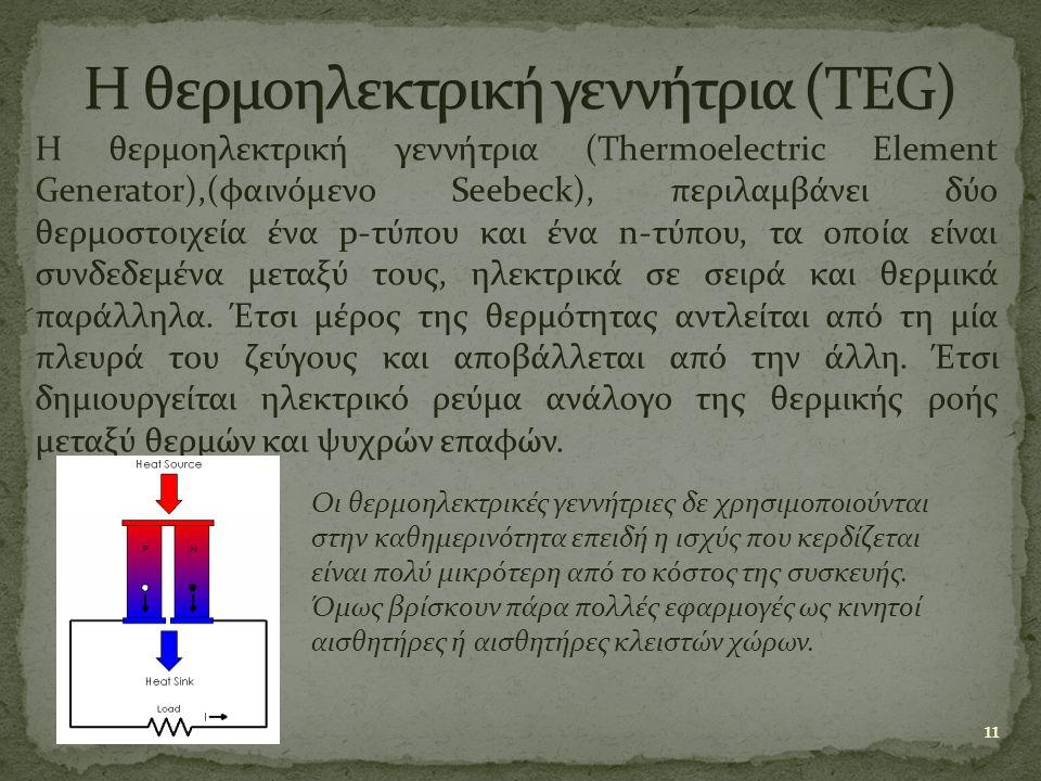 Η θερμοηλεκτρική γεννήτρια (TEG)