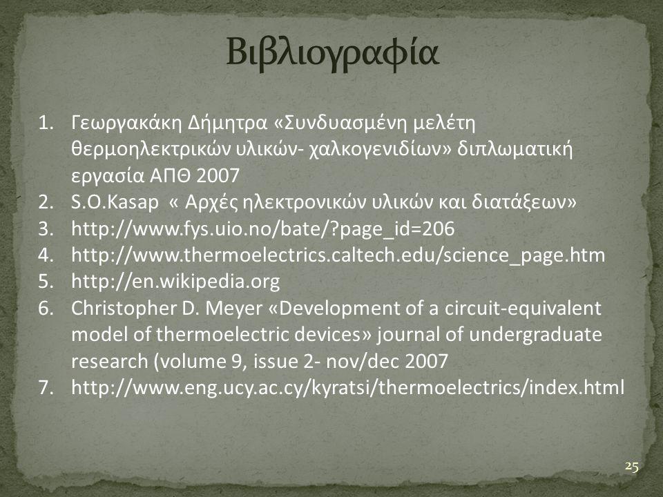 Βιβλιογραφία Γεωργακάκη Δήμητρα «Συνδυασμένη μελέτη θερμοηλεκτρικών υλικών- χαλκογενιδίων» διπλωματική εργασία ΑΠΘ 2007.