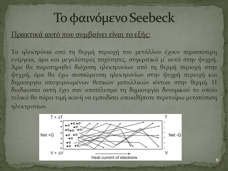 Το φαινόμενο Seebeck Πρακτικά αυτό που συμβαίνει είναι το εξής: