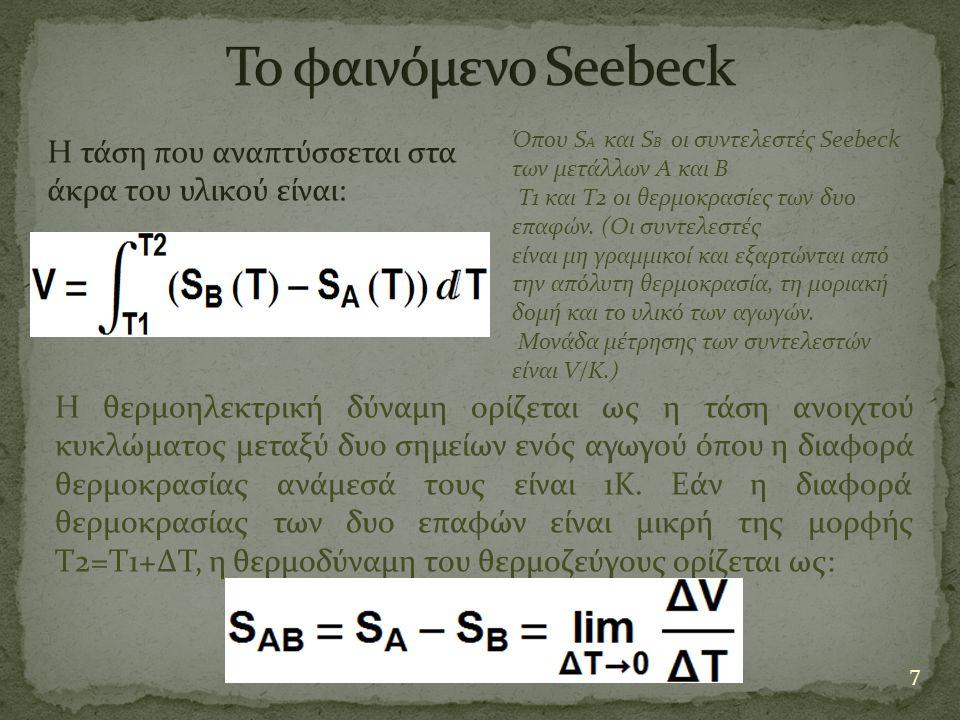 Το φαινόμενο Seebeck Όπου SA και SB οι συντελεστές Seebeck. των μετάλλων Α και Β. Τ1 και Τ2 οι θερμοκρασίες των δυο επαφών. (Οι συντελεστές.