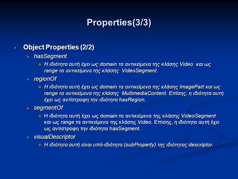 Properties(3/3) Object Properties (2/2) hasSegment regionOf segmentOf