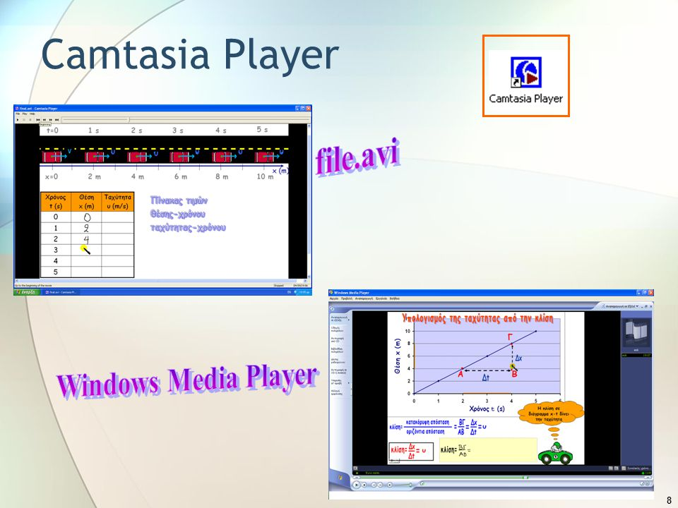 Camtasia Player file.avi Windows Media Player