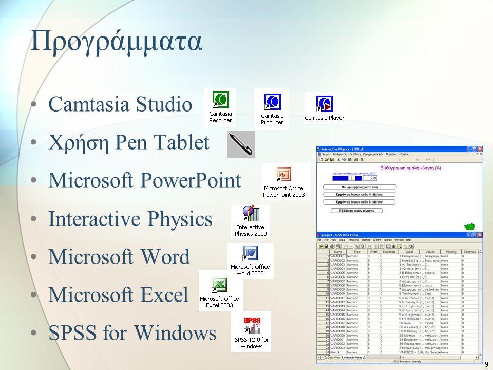 Προγράμματα Camtasia Studio Χρήση Pen Tablet Microsoft PowerPoint