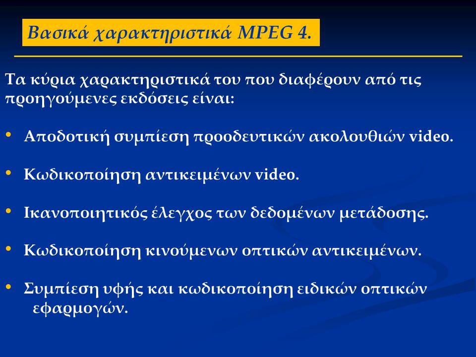 Βασικά χαρακτηριστικά MPEG 4.