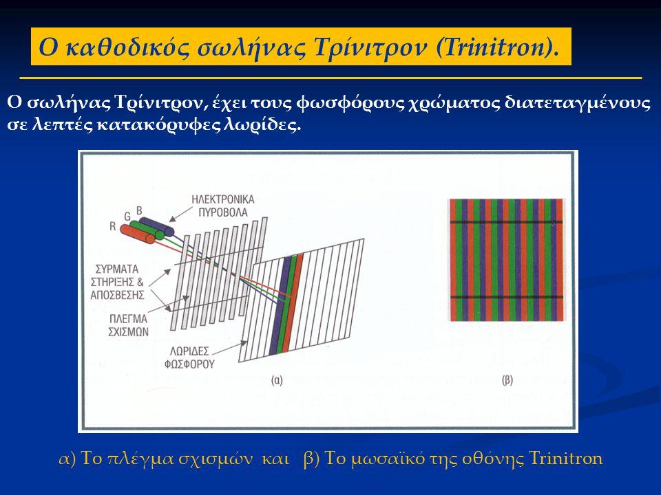 α) Το πλέγμα σχισμών και β) Το μωσαϊκό της οθόνης Trinitron