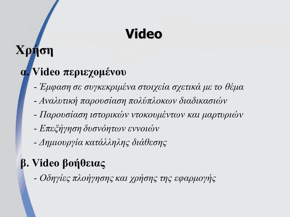 Video Χρήση α. Video περιεχομένου β. Video βοήθειας