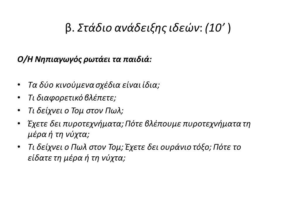 β. Στάδιο ανάδειξης ιδεών: (10' )