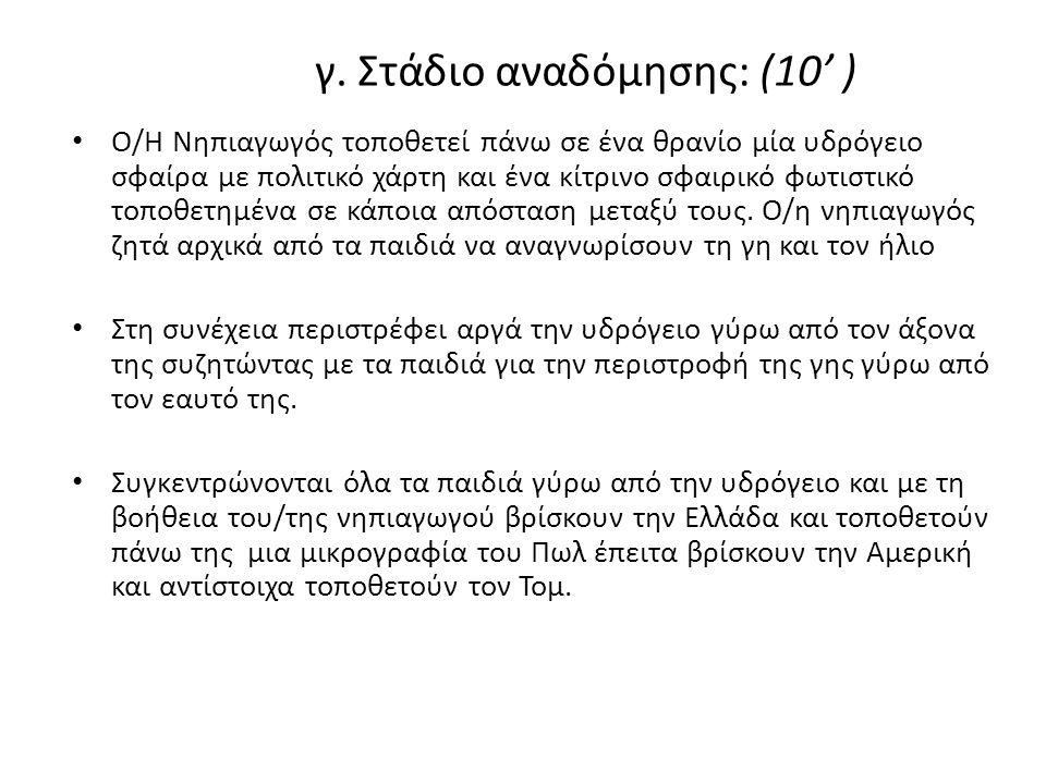 γ. Στάδιο αναδόμησης: (10' )