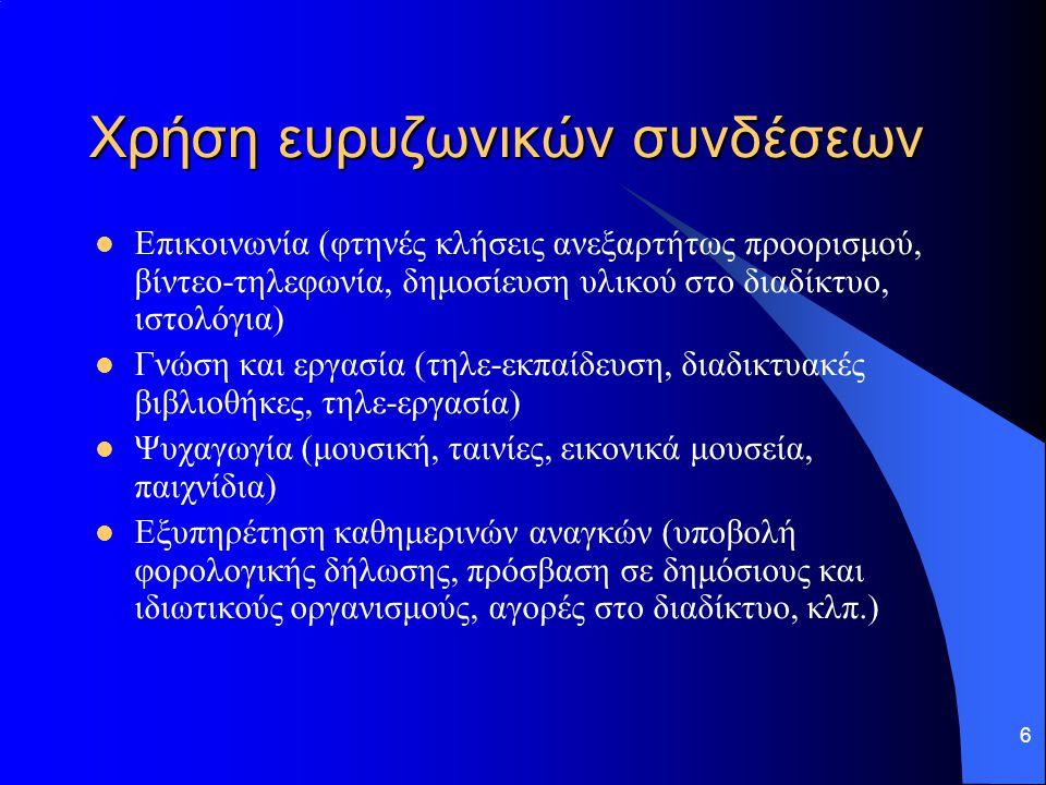 Χρήση ευρυζωνικών συνδέσεων