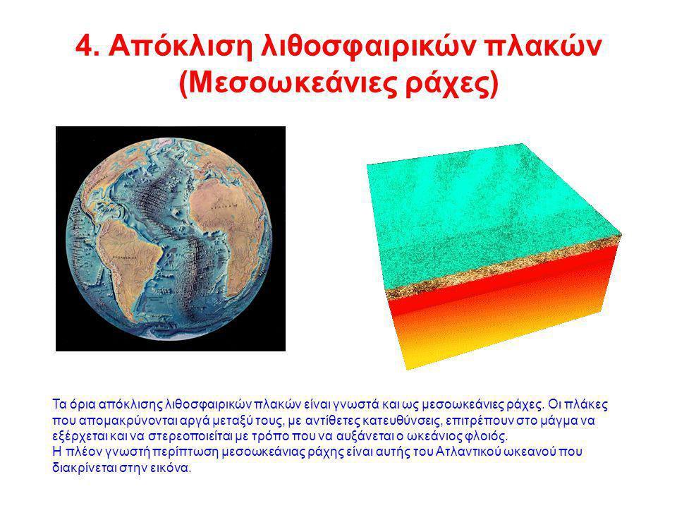 4. Απόκλιση λιθοσφαιρικών πλακών (Μεσοωκεάνιες ράχες)