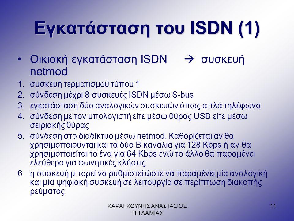 Εγκατάσταση του ISDN (1)