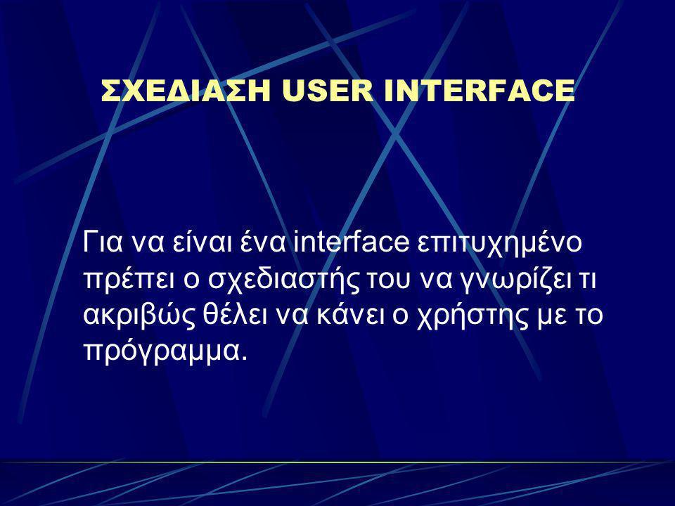 ΣΧΕΔΙΑΣΗ USER INTERFACE