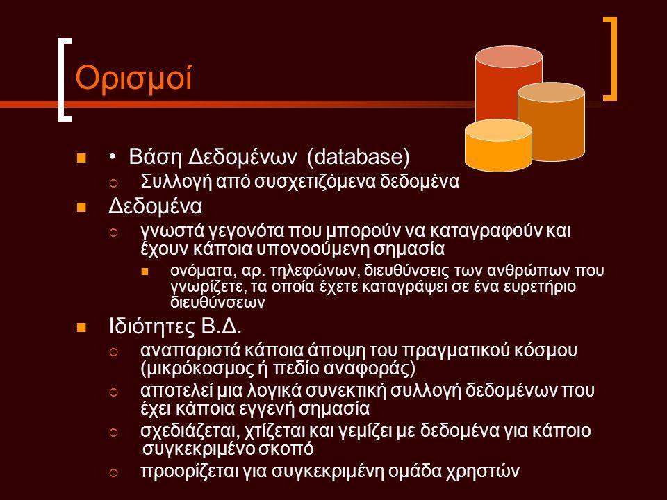 Ορισμοί • Βάση Δεδοµένων (database) Δεδοµένα Ιδιότητες Β.Δ.