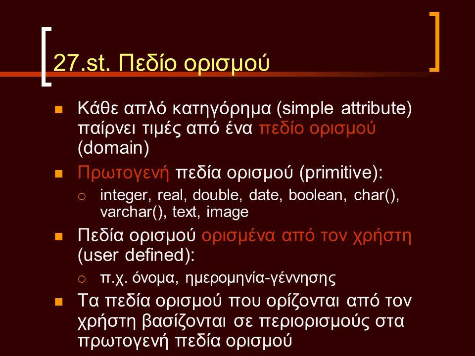27.st. Πεδίο ορισμού Κάθε απλό κατηγόρημα (simple attribute) παίρνει τιμές από ένα πεδίο ορισμού (domain)